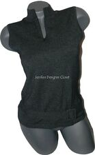NEW OSCAR De La RENTA S sleeveless belted sweater zip neck black white career