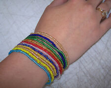 2 set SEA BEAD ELASTIC HIPPIE BRACELET novelty reagae bulk lot beads bracelets