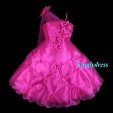 NEW Flower Girl Pageant Wedding Bridesmaid Fancy Party Dress Fuchsia SZ4-5 Z20F