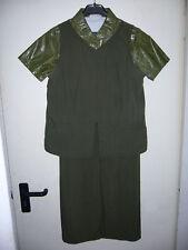 Kleid olivgrün 3-teilig Bluse 34/36 Weste Rock GO IN 40