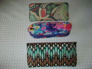 Vera Bradley Lot of 3 Eyeglass cases 2 Hard 1 Soft GUC