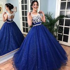 Sparkly Royal Blue Ball Gown Lace Quinceanera Dresses Girls Sweet 16 Formal Gown