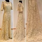 Amazing ~1910 Irish Crochet Trained Wedding or Ball Gown, Bell Sleeves, Size M
