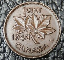 OLD CANADIAN COIN - 1942 - ONE CENT PENNY - George VI - WWII era - Nice