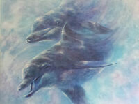 DOLPHIN ART A Playful Pair, an original signed mixed media painting gallery wrap
