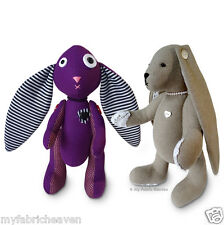 """2 x Sewing-PATTERNS 11"""" Amethyst Gothic Bunny & Lacy Bunny 11"""" Rabbit Softy Toy"""