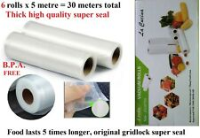 6 x 22CM-BPA-FREE-VACUUM-FOOD-SEALER-ROLL FOOD SAVER BAGS STORAGE REUSABLE New