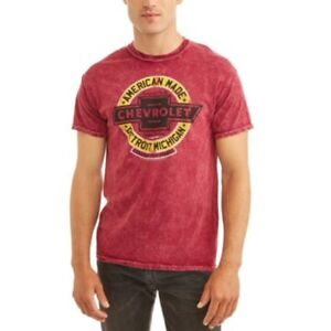 GM Chevrolet American Made Detroit MI Licensed Graphic Rust Red Fabric T Shirt