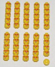 LEGO LOT OF 50 NEW FEMALE MINIIFUGRE HEADS WITH ORANGE DIGITAL GLASSES