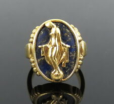 Vintage Lapis & 18K Yellow Gold Lady in Nature Ring