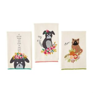 "Mud Pie E1 Botanica 21x14"" Cat Dog Pet Embroidered Towel 41500199 Choose Design"