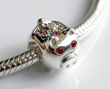 CHINESE ZODIAC - PIG - 925 STERLING SILVER AND STONES BEAD CHARM