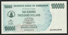 Zimbabwe 100000 Dollars 2006 UNC WITHOUT SPACE