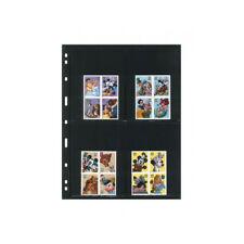Feuilles Uniplate Lindner noires à 4 poches pour blocs, carnets de timbres.