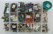 LOT OF NEW METAL JEWELRY DECORATIVE SUPPLIES  392 pcs (7 CHICOS)  5 lbs w/CASE