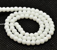40 Weiß Jade Perlen Halbedelstein 8mm Opak Kugel Edelstein Strang Gemstone G36