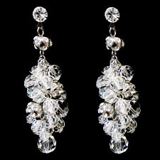 Antique Rhodium Silver Clear Swarovski Crystal Bead Earrings #2866