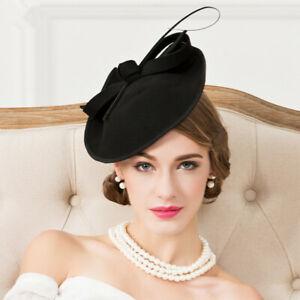 Frauen 1950er Jahre Filz Untertasse Kopfschmuck Fascinator Cocktail Hut A570