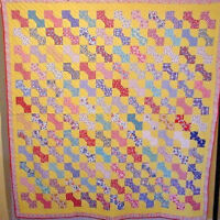 COLORFUL ANTIQUE BOW TIE QUILT NOVELTY PRINTS HAND PIECED AND QUILTED