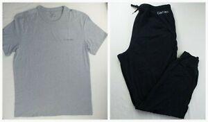 Calvin Klein Men's Pajama Set L Lounge Jogger Pants & Shirt Black Grey New MP$60