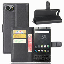Black Shockproof PU Leather Wallet Card Case Cover For BlackBerry Keyone Mercury
