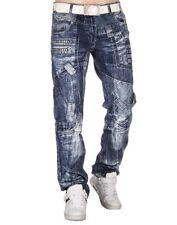 Kosmo Lupo Mens Jeans Light Blue Acid Wash Designer Stud Tapered Fit 38R