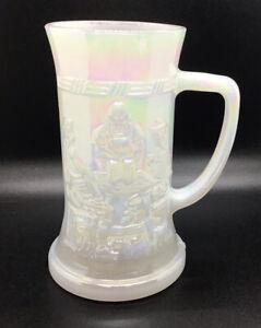 Vintage Federal Iridescent Carnival Glass White Beer Stein Tavern Scene Mug