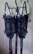 Victoria's Secret Vintage Lace Up Black Lace Bustier w Garters, Size-34B