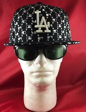 New Era 59Fifty MLB LA Dodgers Black Wh White MLB Insignia and White LA Flat Hat