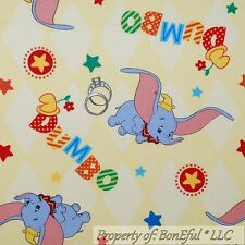 BonEful Fabric Cotton Yellow Disney ELEPHANT Baby Movie DUMBO Circus Clown SCRAP