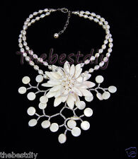 flower necklace Statement Necklace bid necklace shell pearl