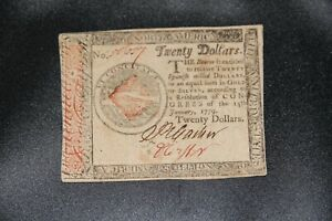 1779 United States $20 Twenty Dollars Continental Currency Note, Hall & Sellers
