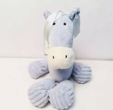 """Jellycat Baby Blue Horse Plush Chime Rattle 14"""" Stuffed New w/ Tags Pony Ribbon"""