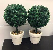 2x Árbol árboles Plantas Artificial Topiario Redondo Plástico Bush Hogar Decoración En Maceta