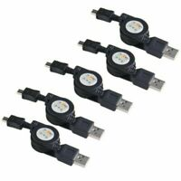 5x Retractable Micro USB 2.0 Data Cable Sync Type A to B 5 Pin Male Charger