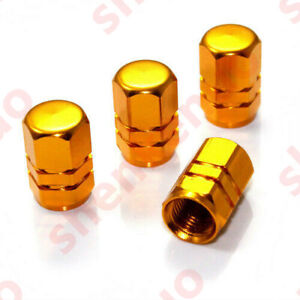 4x Gold Aluminum Tire/Wheel Air Pressure Valve Stem CAPS for Auto-Car-Truck-Bike