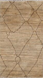 Geometric Moroccan Oriental Area Rug Natural Dye Hand-knotted Wool Carpet 3x5 ft