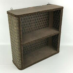 Mid-Century Wicker Wall Shelf Brown Bathroom Shabby Cottage Vintage Redmon MCM