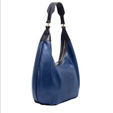 India Hicks Navy Blue Leather Isabella Hobo Bag - New - Orig Retail $460!