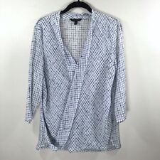 Banana Republic Blouse Top Front Wrap V-Neck White High Low Career Size S Small