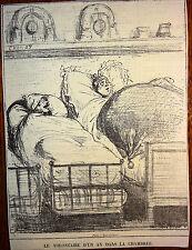 CHAM Lithographie Le Charivari Caricature XIXe Le volontaire d'un an la chambrée