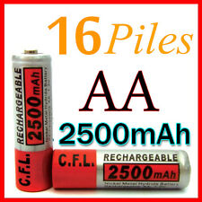 16 PILES ACCUS RECHARGEABLE AA NI-MH 2500mAh 1.2V LR06 MIGNON - DIRECT DE FRANCE