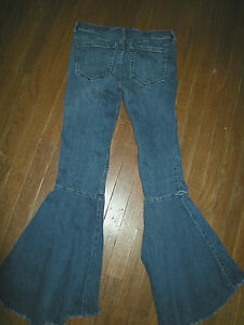 """Free People Hippie Extreme Flare Blue Jeans, Junior's Size 26"""" Waist, Stretch"""