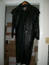 "VINTAGE MENS 1980's ""FIRST"" GENUINE LEATHER DUSTER / SIZE: XS"