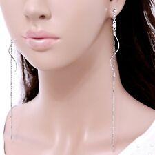 #E121G Pair 15cm Very Long CLIP ON Earrings Dangle Twist Crystal Tassel Polished