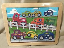 Maple Landmark Woodcraft Wooden Vehicles Taxi Fire Tow Jigsaw Puzzle Made in USA
