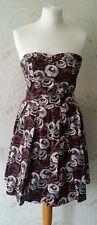 H & M 1950s Style Prom Pink Rose Floral Net Bandeau Corset Skater Dress Size 10