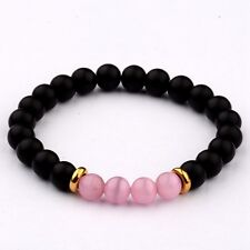 8MM Natural Lava Pink Cats Eye Beads  Charm Man Woman Fashion Bracelets  Gift