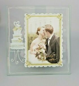"""Happily Ever After Glass Photo Picture Frame Wedding Cake 4 x 6"""" Wedding Gift"""