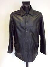 Armani Jeans Negro Chaqueta de cuero suave con cierre de botón Size UK 40